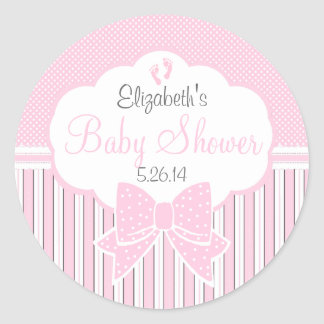 Pink Dots and Stripes-Baby Shower Classic Round Sticker