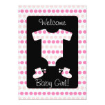 Pink Dots Baby Girl Clothes and Booties Shower Announcement