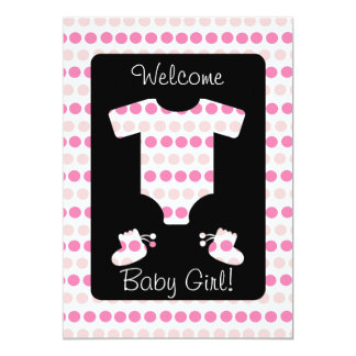 Pink Dots Baby Girl Clothes and Booties Shower 5x7 Paper Invitation Card