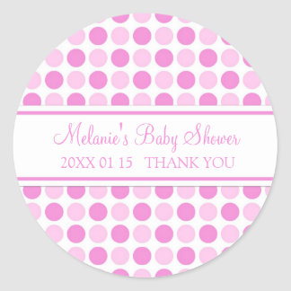Pink Dots Baby Shower Favor Stickers