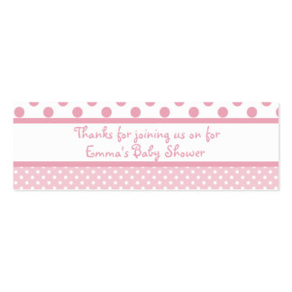 Pink Dots Baby Shower Favor Tag Mini Business Card