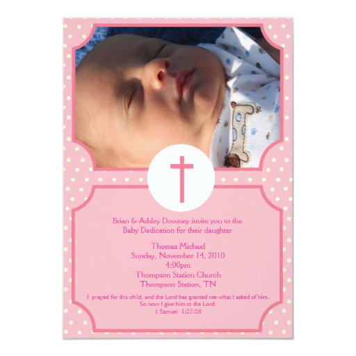 Pink Dots Baptism Baby Girl Dedication 5x7 photo Card