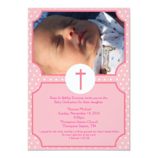 Pink Dots Baptism Baby Girl Dedication 5x7 photo 5x7 Paper Invitation Card