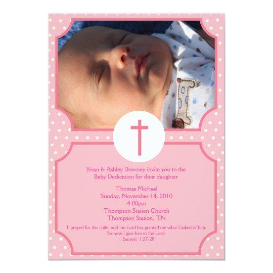 Pink Dots Baptism Baby Girl Dedication 5x7 Photo Invitation