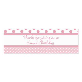 Pink Dots Birthday Favor Tag Mini Business Card