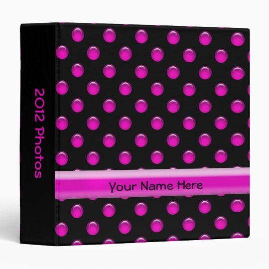 Pink Dots Black 3 Ring Binder