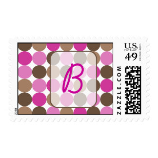 pink dots brown rectangle, B Stamps