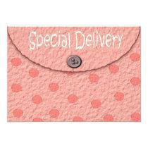 "Pink Dots Envelope Girls Baby Shower Invitations 5"" X 7"" Invitation Card"
