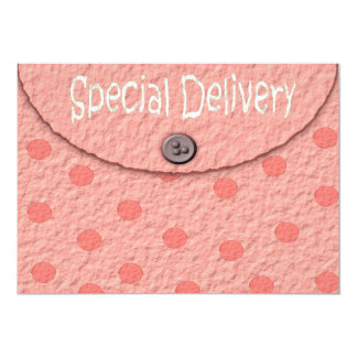 Pink Dots Envelope Girls Baby Shower Invitations