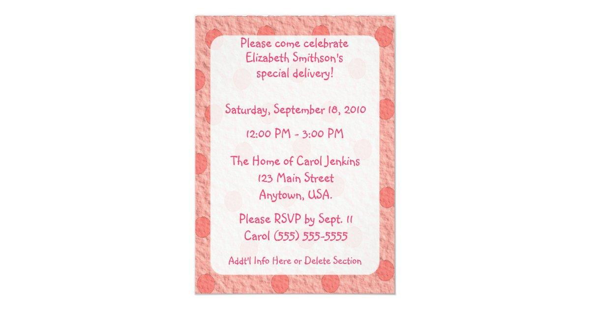 pink dots envelope girls baby shower invitations zazzle