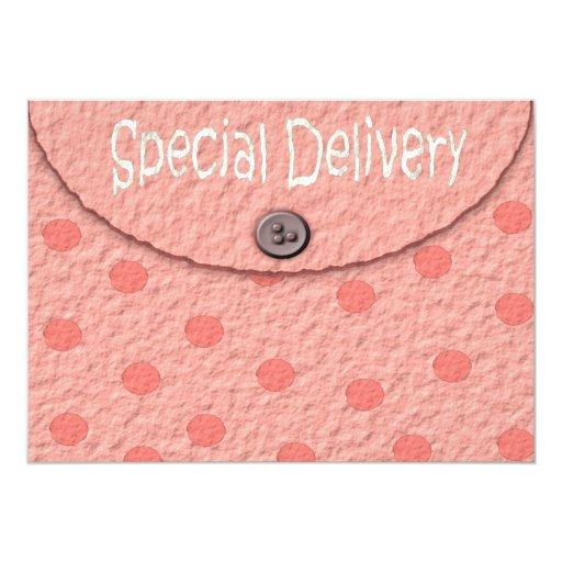 Pink Dots Envelope Girls Baby Shower Invitations