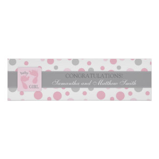Pink Dots & Foot Prints Girl Baby Shower Banner
