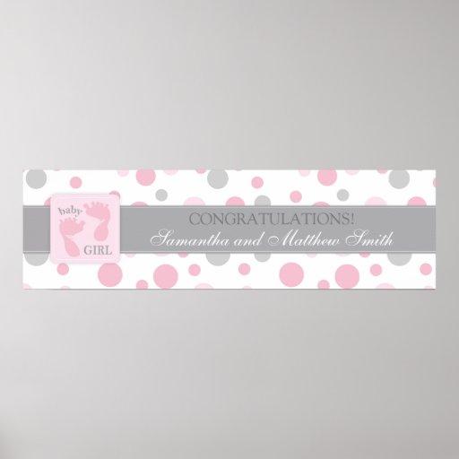 Pink Dots & Foot Prints Girl Baby Shower Banner Print