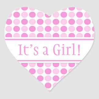 Pink Dots It's a Girl Baby Shower Stickers