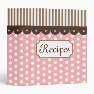 Pink Dots Kitchen Recipe Organizer Binder Gift