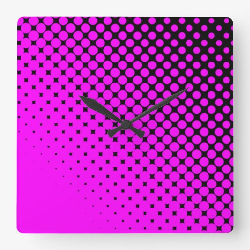 Pink Dots on Black Square Wall Clock