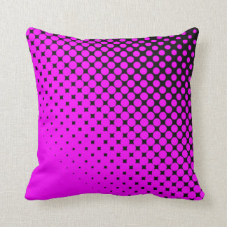 Pink Dots on Black Throw PIllow