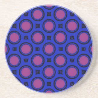 pink dots on blue coaster