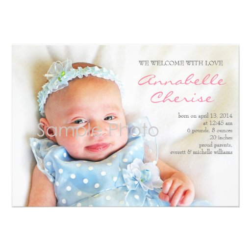 Pink Dots Photo Birth Announcement