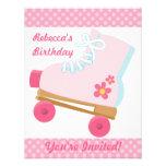 Pink Dots Roller Skating Birthday Party Invitation