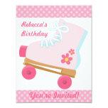 "Pink Dots Roller Skating Birthday Party Invitation 4.25"" X 5.5"" Invitation Card"