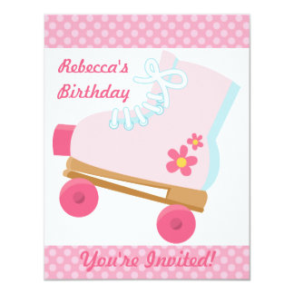 Pink Dots Roller Skating Birthday Party Invitation