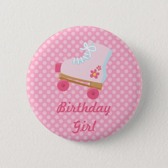 Pink Dots Rollerskate Birthday Button