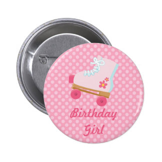 Pink Dots Rollerskate Birthday Button