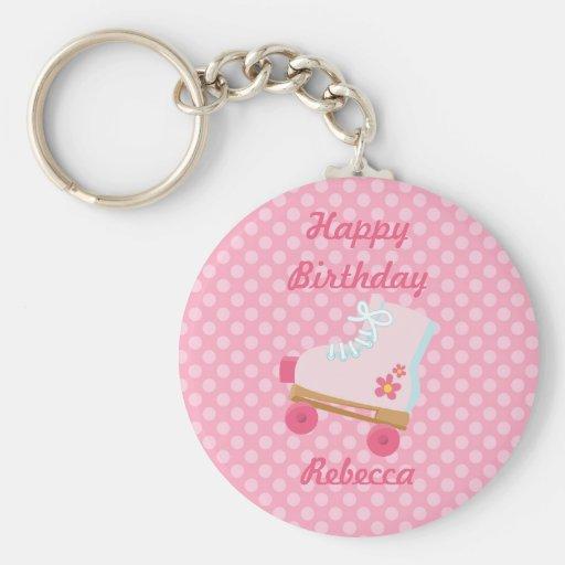 Pink Dots Rollerskate Birthday Keychain