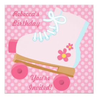 """Pink Dots Rollerskate Birthday Party Invitation 5.25"""" Square Invitation Card"""