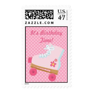 Pink Dots Rollerskate Birthday Postage