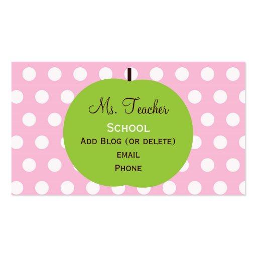 Pink Dots Teacher Business Cards