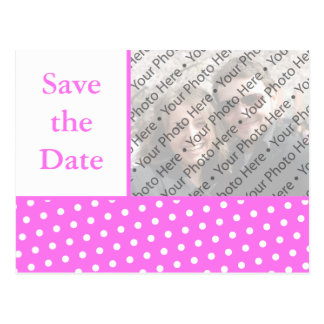 Pink Dots Wedding Save the Date Photo Postcard
