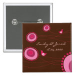 Pink Dotted Flowers & Bird Wedding / Save The Date Pinback Buttons