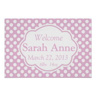 Pink Dotty Birth Announcement Poster