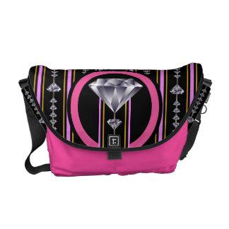 Pink Double Diamond Messenger Bag