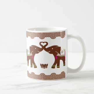 Pink Double Heart Elephants Coffee Mug