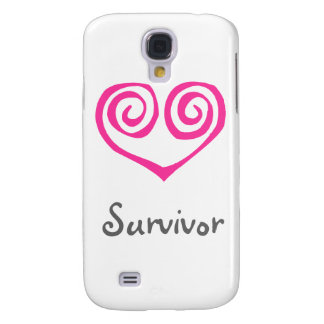 Pink Double Spiral Heart Breast Cancer Survivor Galaxy S4 Cover