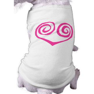 Pink Double Spiral Heart Breast Cancer Survivor Pet Tee Shirt