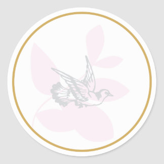 Pink Dove and Branch Baptism Seal/Sticker Classic Round Sticker