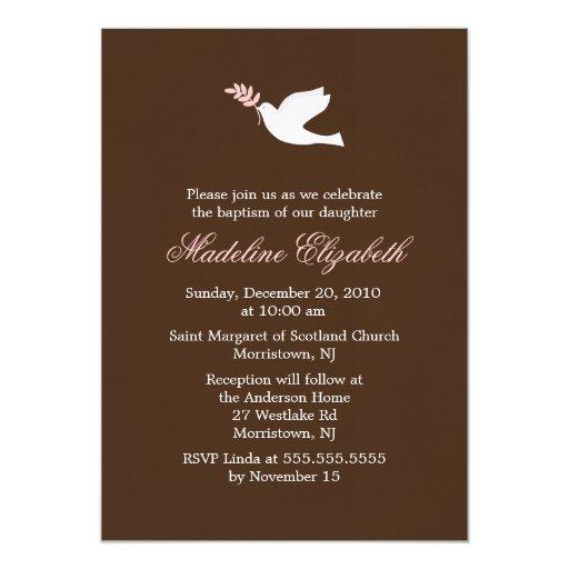 "Pink Dove Christening Invitations 5"" X 7"" Invitation Card"