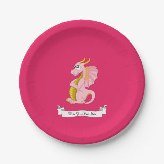 Pink dragon cartoon 7 inch paper plate
