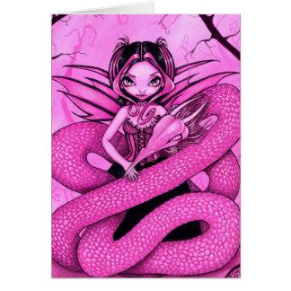 """Pink Dragon Fairy"" Greeting Card"