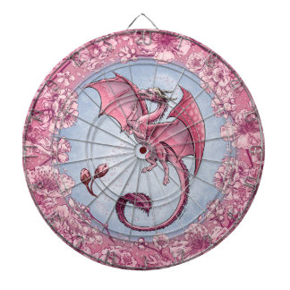 Pink Dragon of Spring Nature Fantasy Art Dartboard With Darts