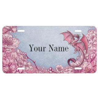 Pink Dragon of Spring Nature Fantasy Art License Plate