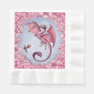 Pink Dragon of Spring Nature Fantasy Art Paper Napkin