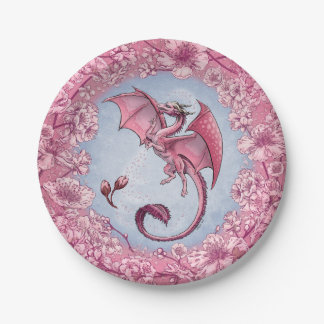 Pink Dragon of Spring Nature Fantasy Art Paper Plate