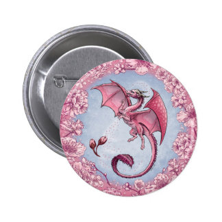 Pink Dragon of Spring Nature Fantasy Art Pinback Button