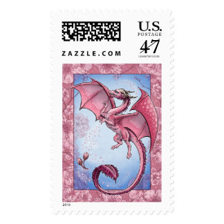 Pink Dragon of Spring Nature Fantasy Art Postage