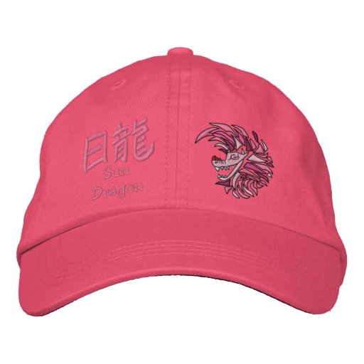 Pink dragon old symbols embroidered baseball caps